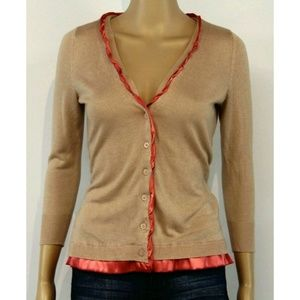 New York & Company Women Cardigan Beige